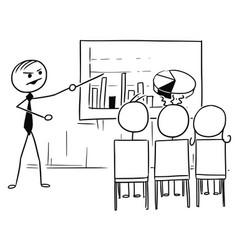 Stick man cartoon of boss or teacher presenting vector