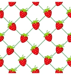 strawberry seamless dotted white vector image