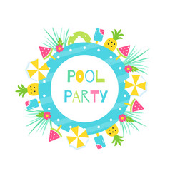 Summer pool or beach tropical theme party vector