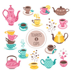 teapots and cups collection vector image