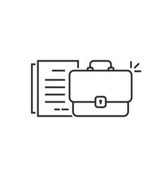 Thin line briefcase with doc like paperwork vector