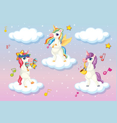 three cute unicorn or pegasus standing on clouds vector image
