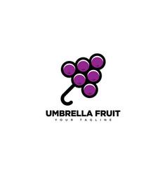 Umbrella fruit logo design template vector