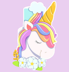 unicorn cake rainbow pastel colors flowers vector image