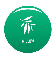 Willow leaf icon green vector