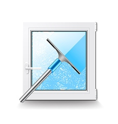 Window cleaning isolated on white vector image