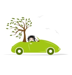 Woman carry tree green car for your design vector