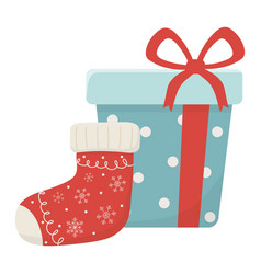 Wrapped gift and sock celebration merry christmas vector