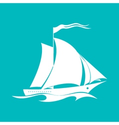 Yacht Isolated on Green vector image
