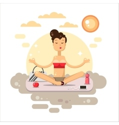 Yoga flat Woman sitting on the mat vector image