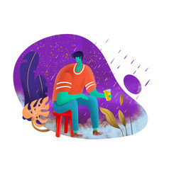 Young man sitting lonely amid trees and cold vector