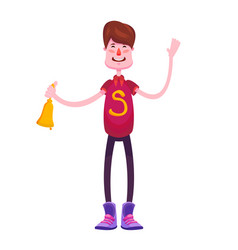 a cheerful pupil in a red t-shirt is standing with vector image