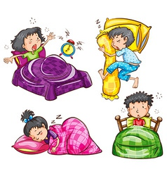 A group of kids at the bedroom vector image