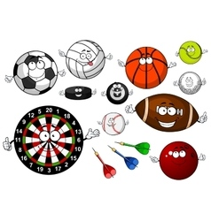 Cartoon sport game items and equipment vector image