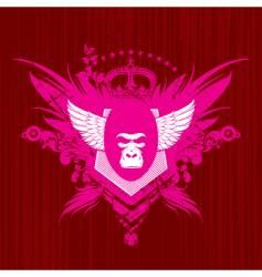 heraldry with gorilla head vector image vector image
