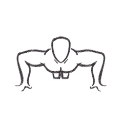 man silhouette exercising push ups front vector image vector image