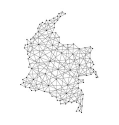 map of colombia from polygonal black lines vector image