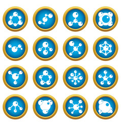 molecule icons blue circle set vector image