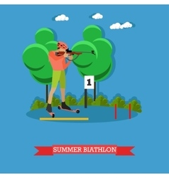 Sport shooting banner Summer biathlon competition vector image