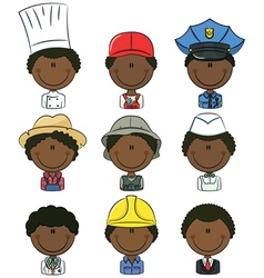 African-American professional people avatars vector image vector image
