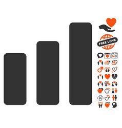 bar chart increase icon with lovely bonus vector image vector image