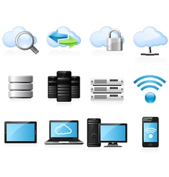 Cloud computing icons vector