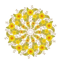 Colorful Mendie Mandala with flowers and leaves vector image