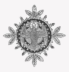 engraving eagle icon with a circle wreath vector image