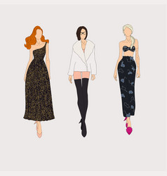 Hand drawn fashion models concept vector