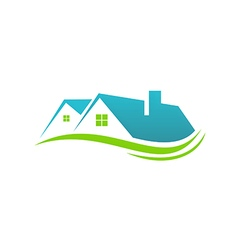 house roof realty abstract eco logo vector image vector image