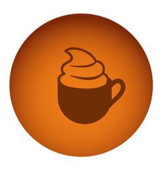 orange emblem cup coffee with cream icon vector image vector image