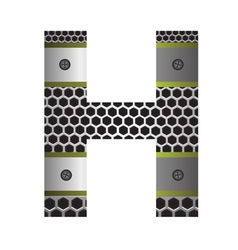 Perforated metal letter h vector