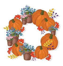 pumpkin and floral wreath decor autumn vector image vector image
