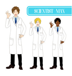 scientist man showing ok hand sign vector image vector image