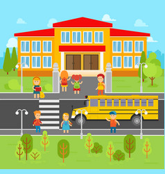 children go back to school flat vector image