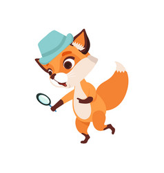 cute fox character detective holding magnifying vector image
