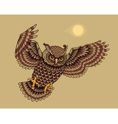 flying owl bird vector image vector image