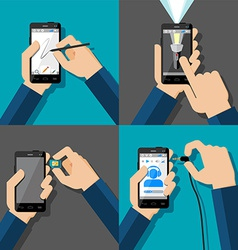 Hands holding touchscreen smartphones vector image
