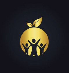 people group round vegan gold logo vector image vector image