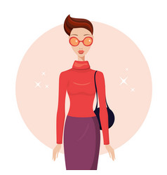 stylish young woman wearing trendy clothes vector image
