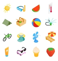 Summer elements icons set isometric 3d style vector image