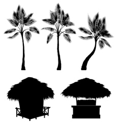 Tropical bungalow and palm isolated drawin vector image