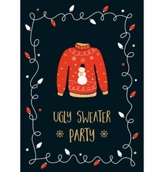 Ugly sweater party invitation card vector