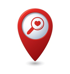Zoom icon with heart on the red map pointer vector image vector image