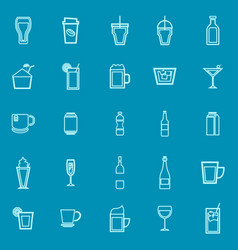 beverage line color icons on blue background vector image