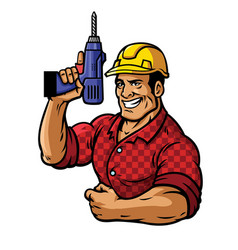 muscular construction worker with drill vector image vector image