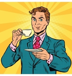 Retro businessman drinking tea vector image