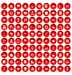 100 coffee cup icons set red vector