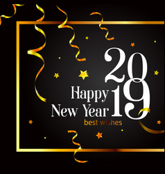 2019 happy new year card on a black background vector image