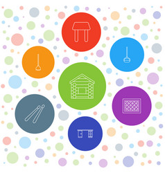 7 wood icons vector